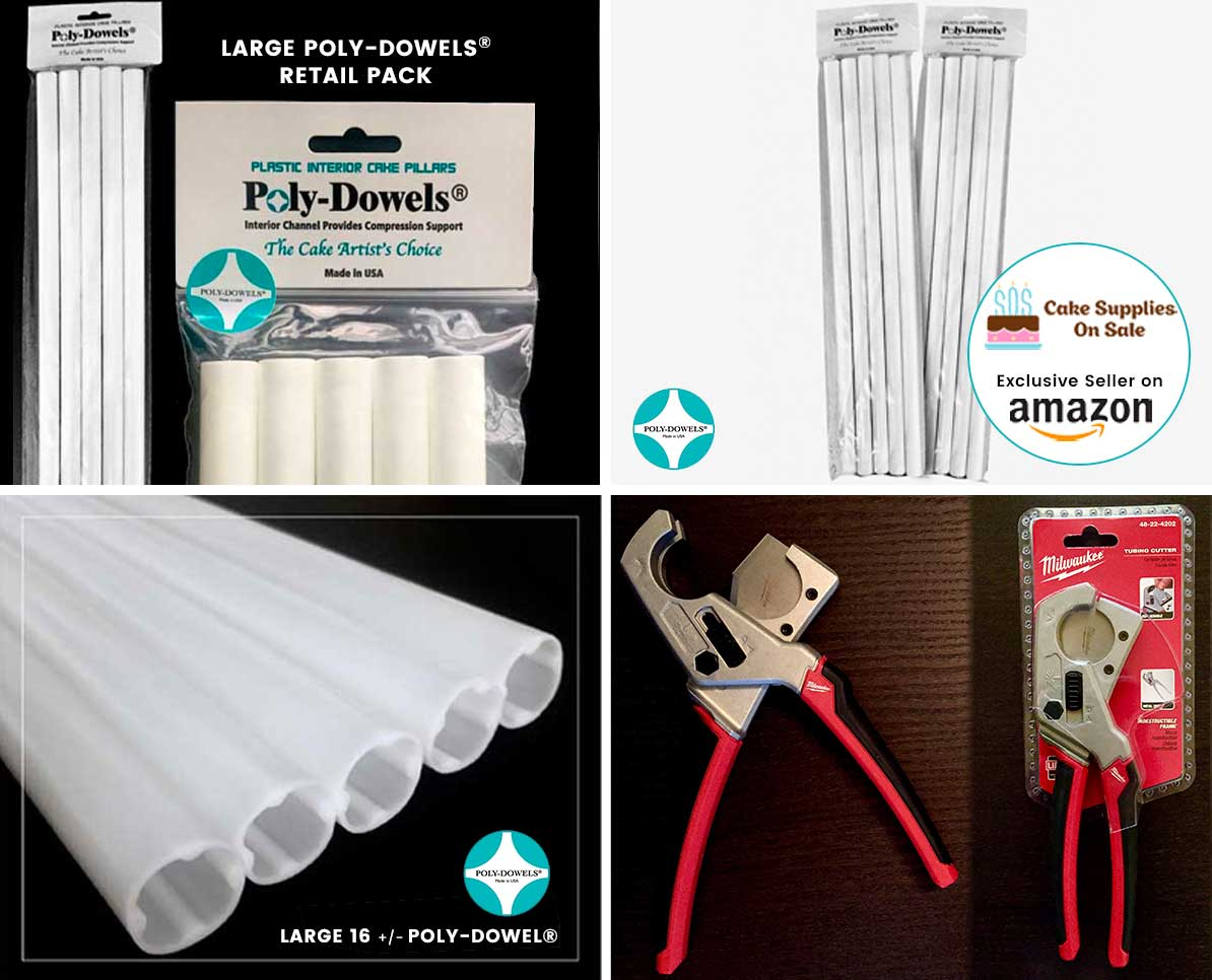 Collage of Poly-Dowels® products and Recommended Cutting Tool | Plastic Cake Dowels Internal Cake Support Made in the USA