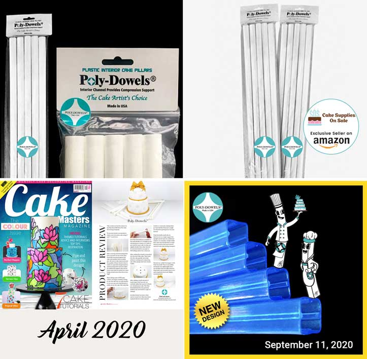 Collage of Poly-Dowels® products, Cake Masters Article from April 2020 and New Square Poly-Dowels Design | Plastic Cake Dowels Internal Cake Support Made in the USA
