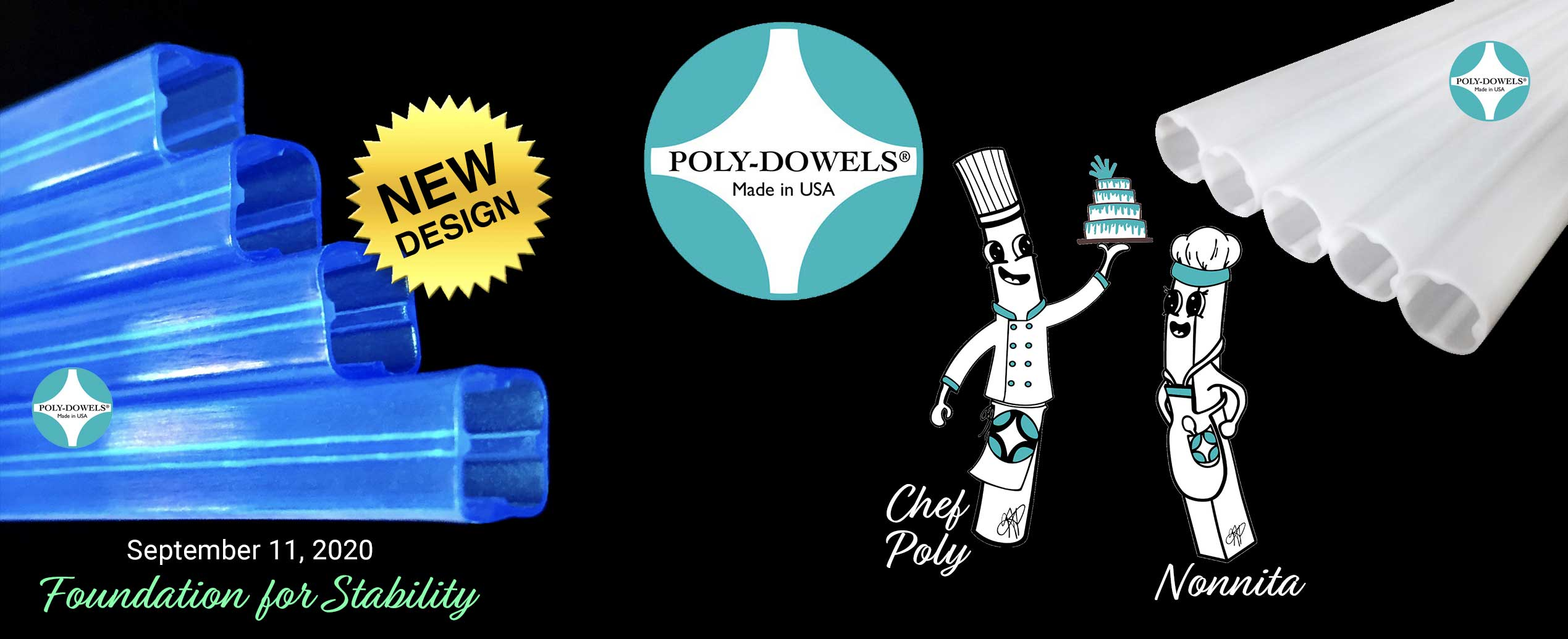 Official Poly-Dowels® Original White Plastic Cake Dowels and New Blue Square Cake Dowels made by Poly-Dowels® | Plastic Cake Dowels Made in the USA